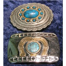 551. Pair of Simulated Turquoise Belt Buckles.