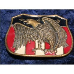 553. American Eagle Enameled Belt Buckle. Used.
