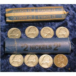 560. (2) Solid date Rolls of 1962 Jefferson Nickels.