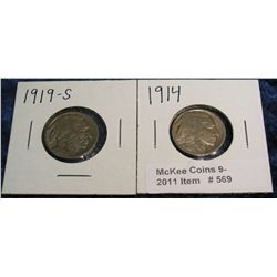 569. 1914 P & 19 S Buffalo Nickels. G-4.
