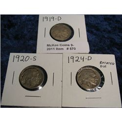 570. 1919 D, 20 S, & 24 D Rotated Die Buffalo