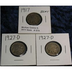 579. 1917 P & (2) 27D Buffalo Nickels. The first has a slight bend.