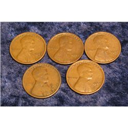 582. (5) 1924 S U.S. Wheat Cents. G-VG.