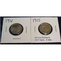 585. 1915 P & 16 P Buffalo Nickels. Circ.