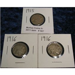 587. 1915 P & (2) 16 P Buffalo Nickels. All acid restored.