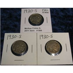 588. (3) 1930 S Buffalo Nickels.  One has a nearly Full Horn.