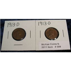 589. (2) 1913 D Lincoln Cents. G-VG.