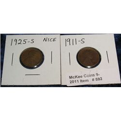 592. 1911S ??? & 25 S Lincoln Cents. Sold as is.