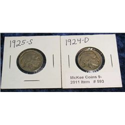 593. 1924 D  & 25 S Buffalo Nickels. G-4.