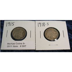 597. 1915 P & 18 S Buffalo Nickels. Circulated.
