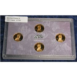 781. 2009 S Four-Piece Proof Lincoln Cent Set.