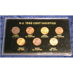 784. Seven-piece 1982 Lincoln Cent Variety Set in holder.