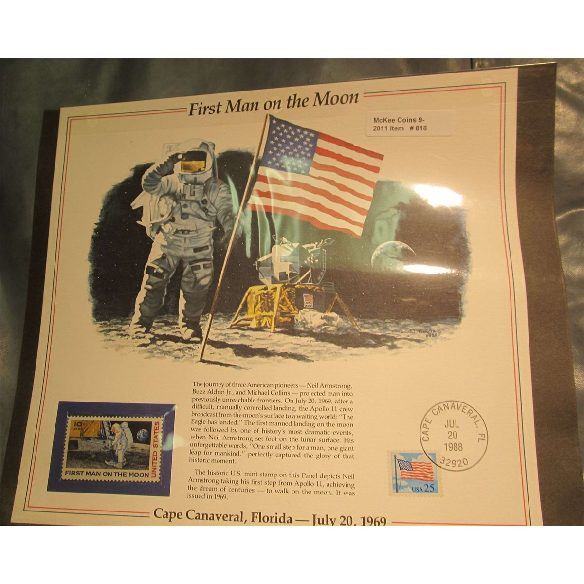 1988 First Man On The Moon Stamp And Panel