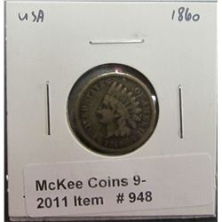 948. 1860 U.S. Indian Head Cent. VG-8.