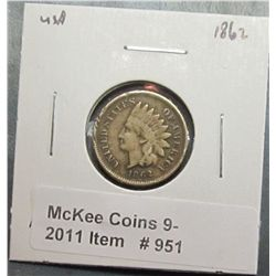 951. 1862 U.S. Indian Head Cent. F-12.