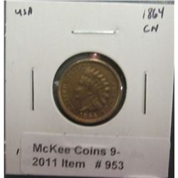 953. 1864 CN U.S. Indian Head Cent. AU 50.