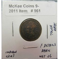 961. 1868 U.S. Indian Head Cent. F Details Dark Net VG.