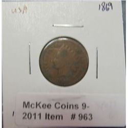 963. 1869 U.S. Indian Head Cent. G-4.