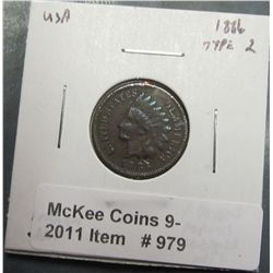 979. 1886 Type 2 U.S. Indian Head Cent. F details, porous, cleaned, Net G-4.