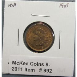 992. 1905 U.S. Indian Head Cent. AU 55.