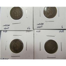 996. (4) 1909 Indian Head Cents. G-4 to G-6. All scarce.