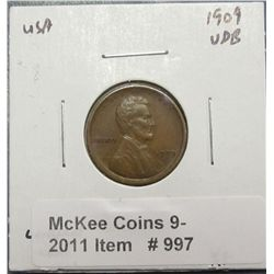 997. 1909 P VDB Lincoln Cent. EF 40.