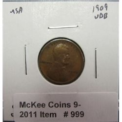 999. 1909 P VDB Lincoln Cent. VF 20.