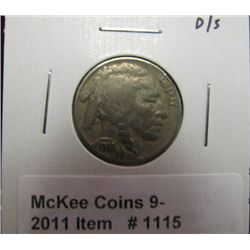 1115. 1938 D/S Buffalo Nickel. VG. Obverse scratched.