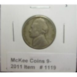 1119. 1938 S Jefferson Nickel. VF 20.