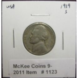 1123. 1939 S Jefferson Nickel. VG-8.