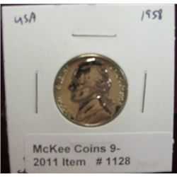 1128. 1958 P Jefferson Nickel. Proof 67.