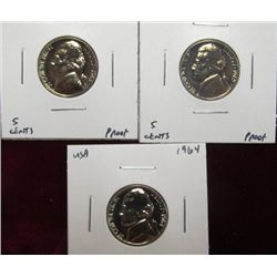 1134. 1962P, 63P, & 64 P Jefferson Nickels. Proof 65.