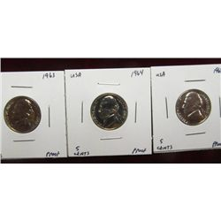 1135. 1963P, 64P, & 68S  Jefferson Nickels. Proof 65.