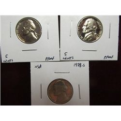 1136. 1963P, 64P, & 78S  Jefferson Nickels. Proof 65.