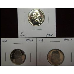 1137. 1964, 92S, & 96S Jefferson Nickel. Proof 65.