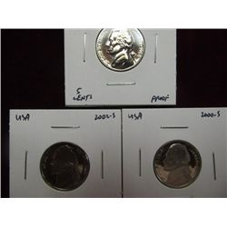 1139. 1964P, 2000S, & 2002S Jefferson Nickel. Proof 65.