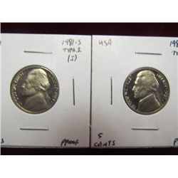 1140. 1981S Type One & Type Two Jefferson Nickels. Proof 65+.
