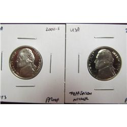 1141. 2000 S & 02 S Proof 65 Cameo Jefferson Nickels.