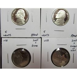 1142. Lewis & Clark Proof Four-Piece Set of Jefferson Nickels.