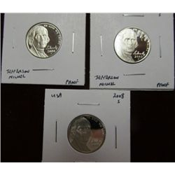 1143. 2006S, 07S, & 08S Proof 65 Jefferson Nickels.