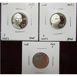 1144. 2007S, 09S, & 10S Proof 65 Jefferson Nickels.
