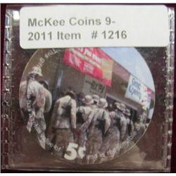 "1216. 2004 ""AAFES"" 5c Plastic token-issued for GI stationed Overseas."