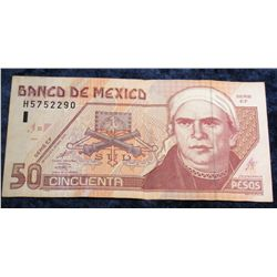 1249. Series EF Bank of Mexico 50 Peso Banknote. VF.
