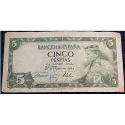 1270. Series 1954 Bank of Spain Five Pesetas Banknote. VF.