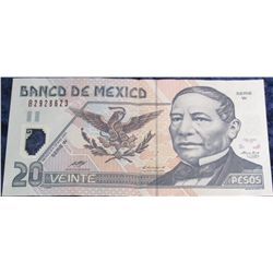 1271. 2003 Series W Bank of Mexico 20 Peso Banknote. EF.