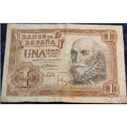 1272. Series 1953 Bank of Spain One Pesetas Banknote. VF.