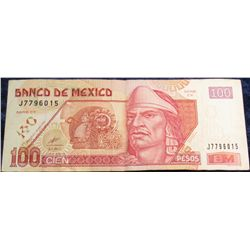 1275. Series CY 2002 Bank of Mexico 100 Peso Bank note. VF.