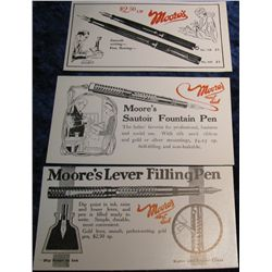 "1278. 3-Different ""Moore's"" Pen Blotters. Circa. 1940."