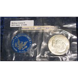 1296. 1971 S Unc Silver Eisenhower Dollar in original cellophane.