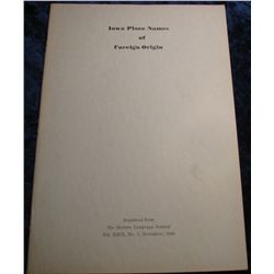 "1356. 1945 Reprint ""Iowa Place Names of Foreign Origin"""
